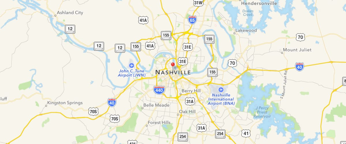 Map of Middle Tennessee with pin dropped at Nashville